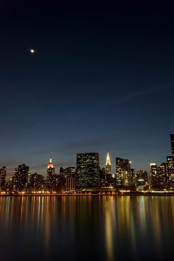 Vertical Photograph - Moon Over Manhattan by Photographs by Vitaliy Piltser
