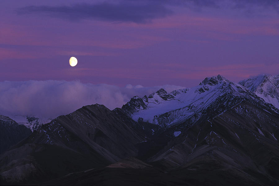 Yukon Territory Photograph - Moon Over Mountains by Nick Norman