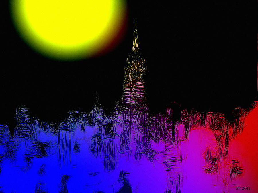 Moon Moonlight Light Ny New York Big Apple Empire State Building Skyline City Cityscape Color Colorful Abstract Painting Expressionism Night Nightlife  Digital Art - Moon Over New York by Steve K