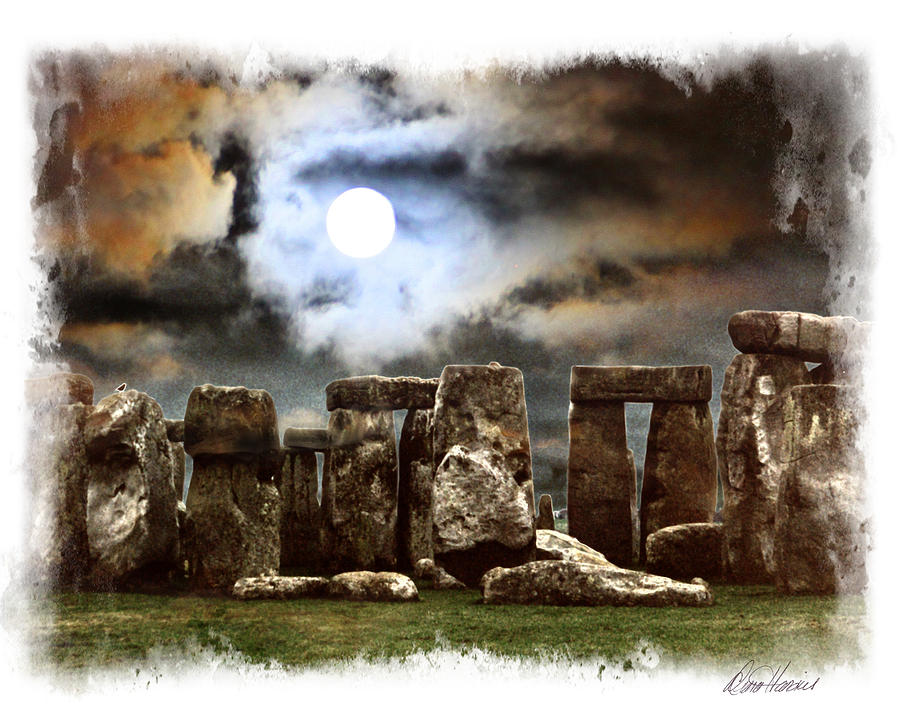 Moon Photograph - Moon Over Stonehenge by Diana Haronis