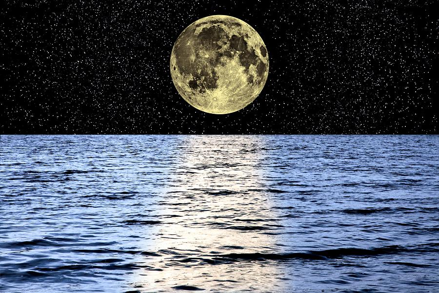 Moon Photograph - Moon Over The Sea, Composite Image by Victor De Schwanberg