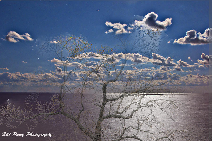 Moon Photograph - Moon Over The Water by Bill Perry