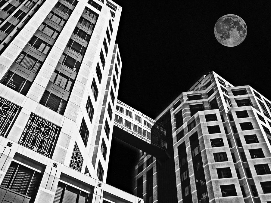 Moon Photograph - Moon Over Twin Towers 2 by Samuel Sheats