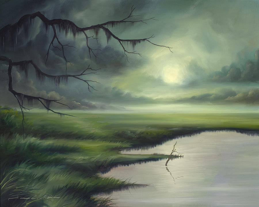 Nature Painting - Moon Over Wadmalaw Island  by James Christopher Hill