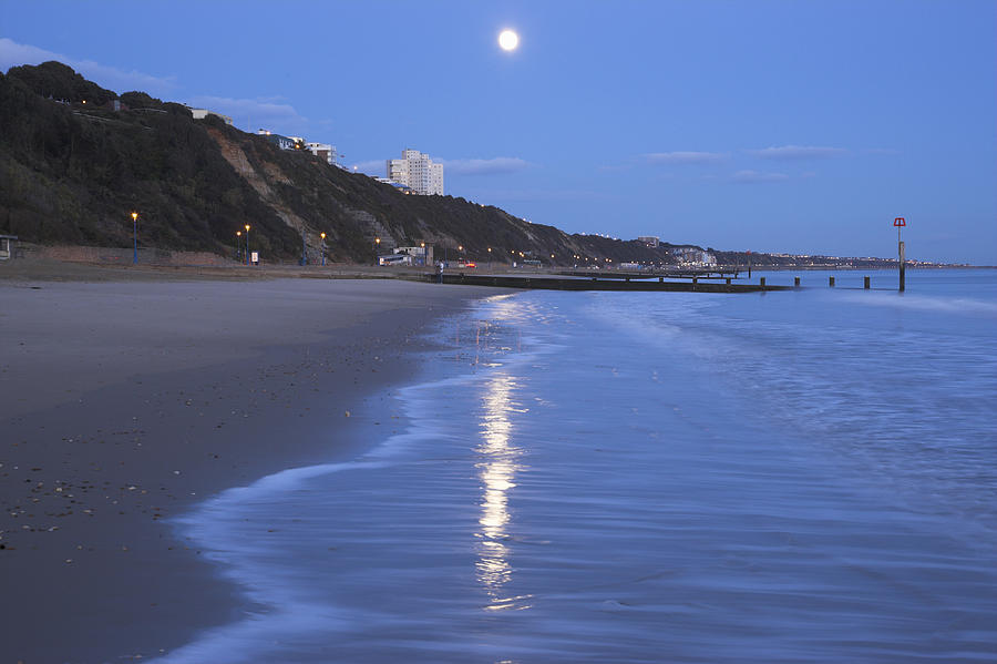 Horizontal Photograph - Moon Reflecting In The Sea, Bournemouth Beach, Dorset, England, Uk by Peter Lewis