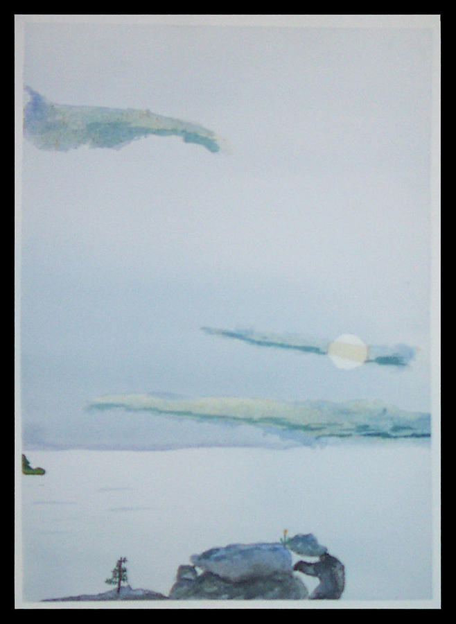 Seascape Painting - Moon Rise by John  Schwind