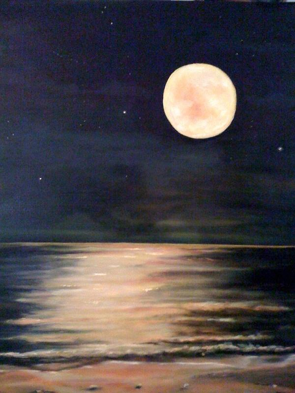 Moon Over Ocean Canvas Painting
