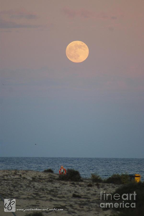 Beach Photograph - Moon Rising Over Beach In Fuerteventura  by Justin Shaw