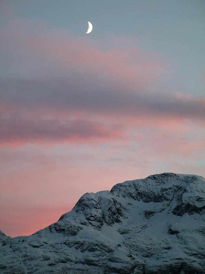 Vertical Photograph - Moon, Upper Engadine, St. Moritz by Remo Steuble - Switzerland