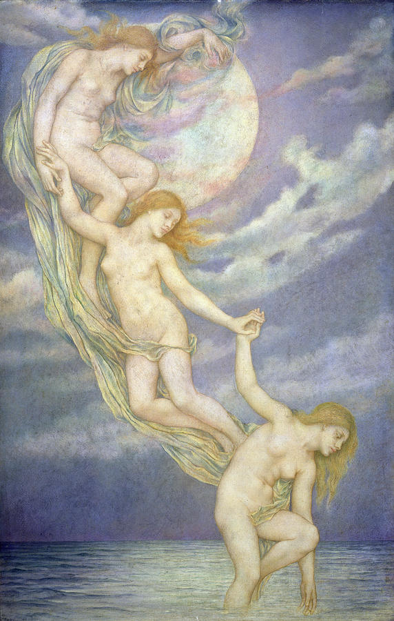 Nude Painting - Moonbeams Dipping Into The Sea by Evelyn De Morgan
