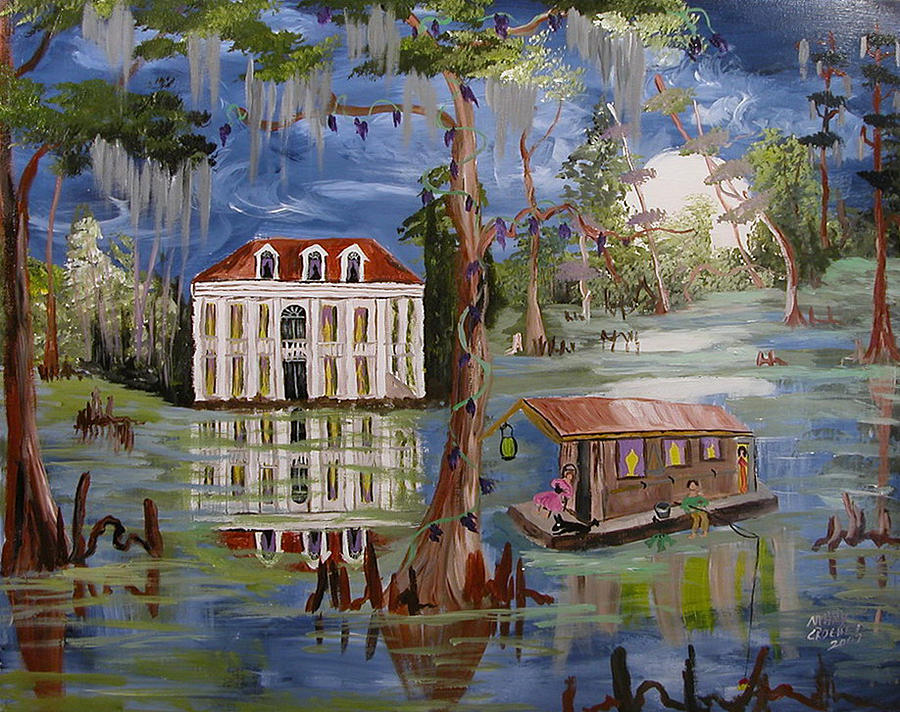 Moonlight Scene Painting - Moonlight And Houseboat by Mary Crochet