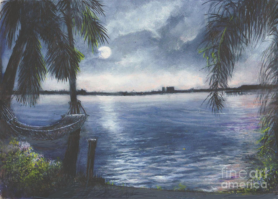 Moonlight Painting - Moonlight At Madeira Beach by Joan Cornish Willies