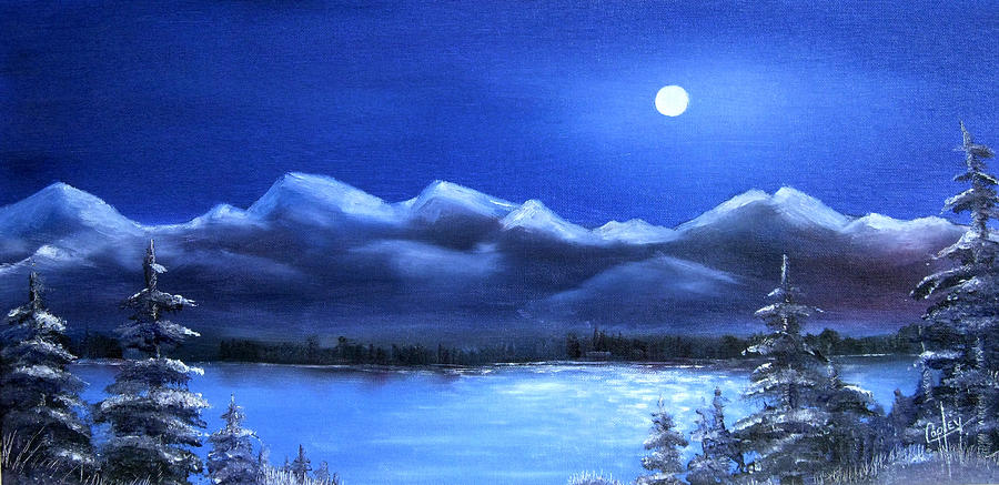 Moonlight Painting - Moonlight over the Chugach by Karen Copley