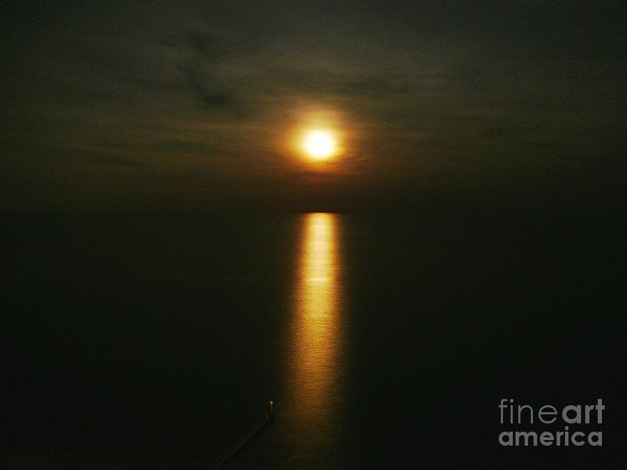 Moonlight Photograph - Moonlight Over The Sea _ Lido De Jesolo by AmaS Art