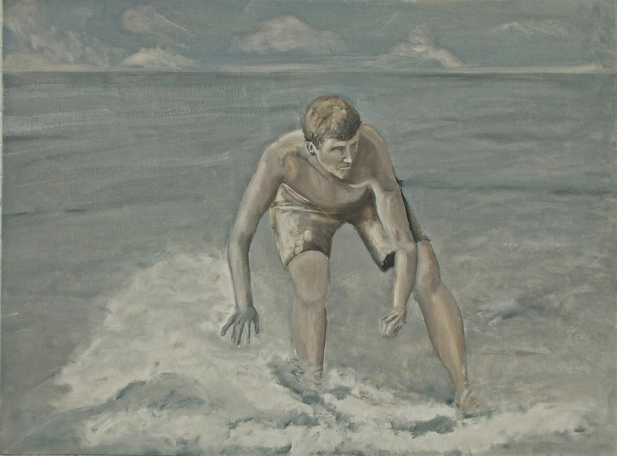 Seascape Painting - Moonlight Skimboarder by Peter Edward Green
