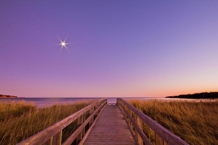 Horizontal Photograph - Moonlit Boardwalk At Beach by Nancy Rose