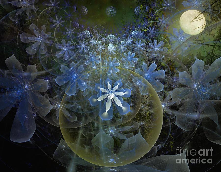 Apophysis Mixed Media   Moonlit Garden By Elaine Manley