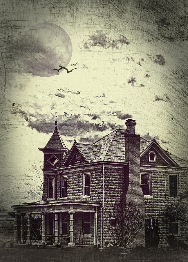 House Photograph - Moonlit Night by Kathy Jennings