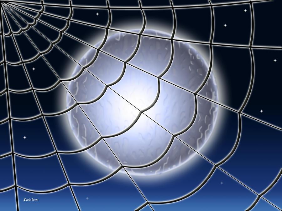 Moon Digital Art - Moonlit Web by Stephen Younts