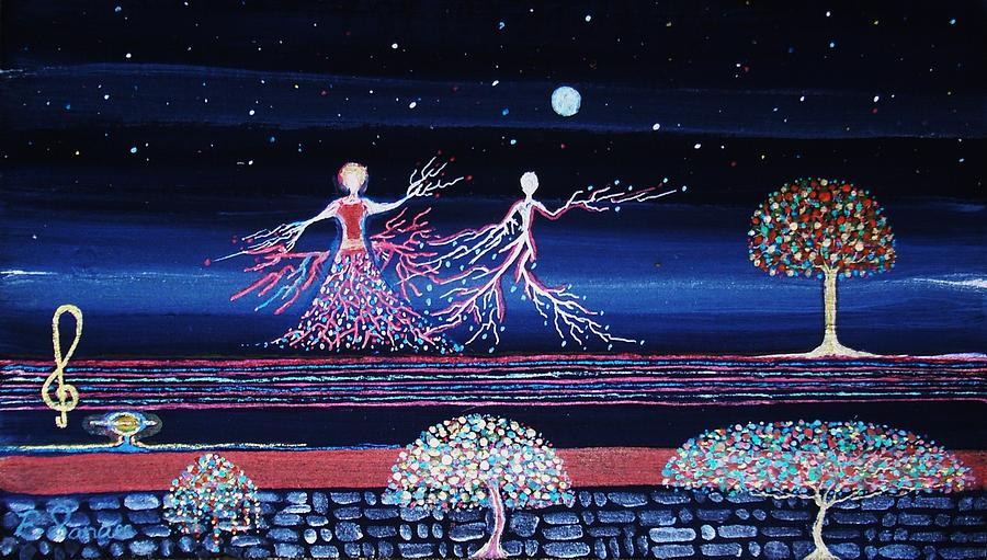 Art Painting Moonlight Night Kunst Light Stars Sky Dancer Dance Art-gallery Fantasy  Collectors Landscape Moon Music Composition Online Key Melody Harmony Love Life Blue Red Colour Tree Garden Flowers Note Arte Fineart  Painting - Moonlove Dance by Farshad Sanaee The Apple