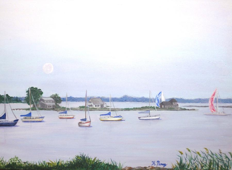 Ocean Painting - Moonrise In Summer by Heather Perez