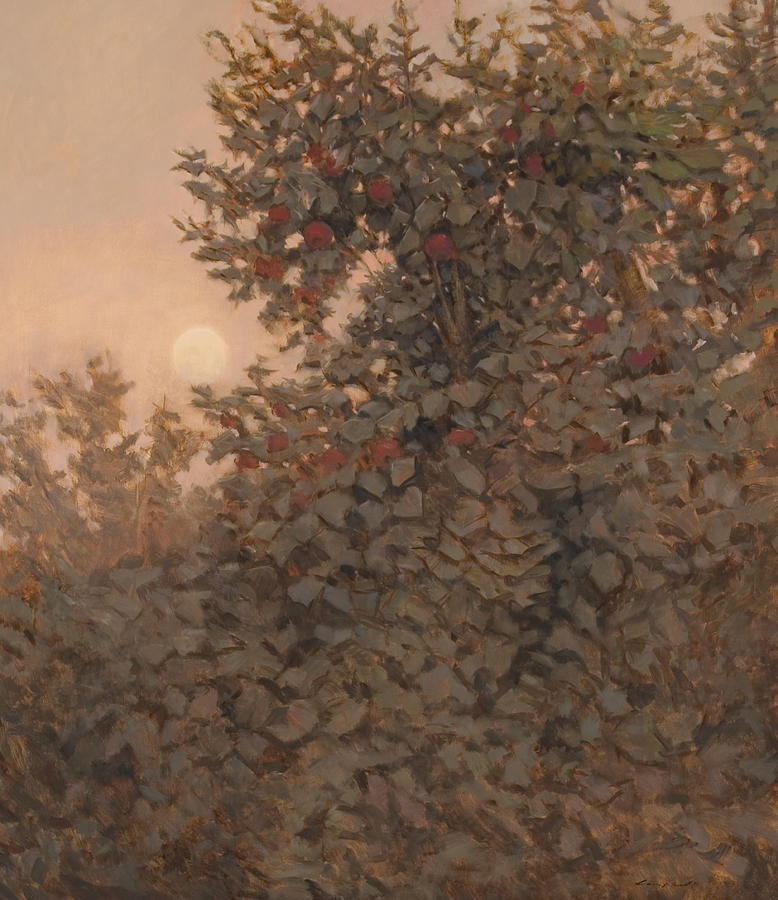 Landscape Painting - Moonrise In The Orchard by Peter  Campbell