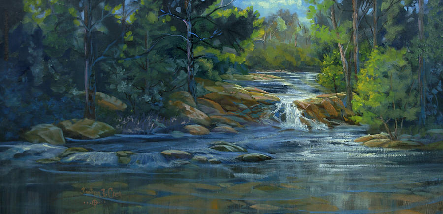 Moonrise On The River Painting