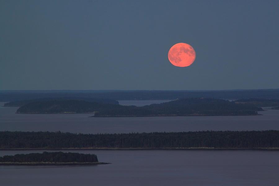 Camden Hills State Park Photograph - Moonrise Over Penobscot Bay From Camden Hills by John Burk
