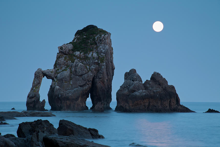 Horizontal Photograph - Moonset In Gaztelugache by Pere Soler