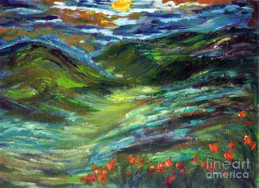 Mary Sedici Painting - Moonshine Valley by Mary Sedici