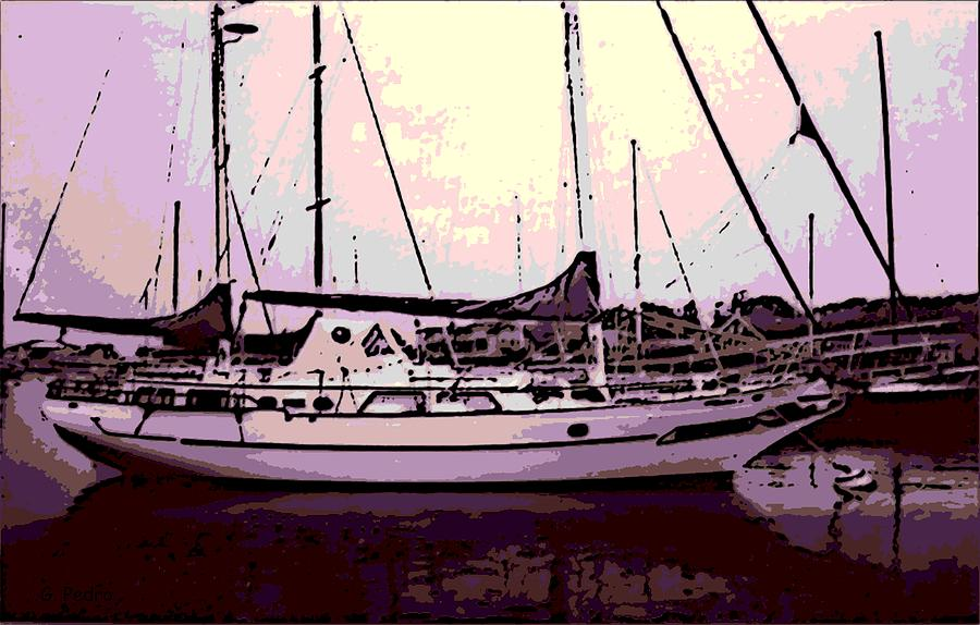 Sail Boat Photograph - Moored by George Pedro