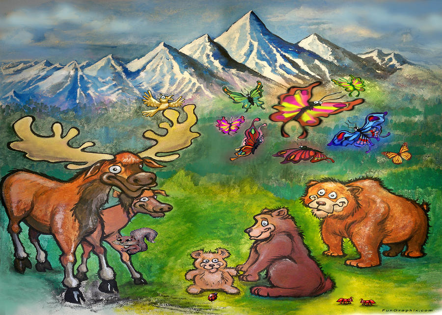 Moose And Bears Painting