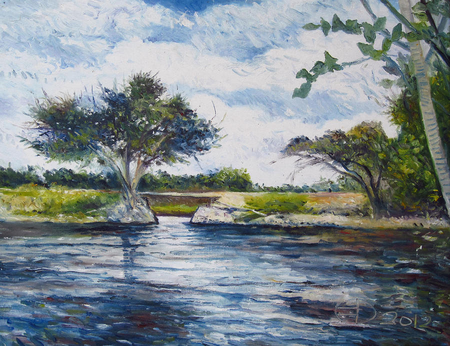 Landscape Painting - Mopani Bridge Maun Botswana by Enver Larney