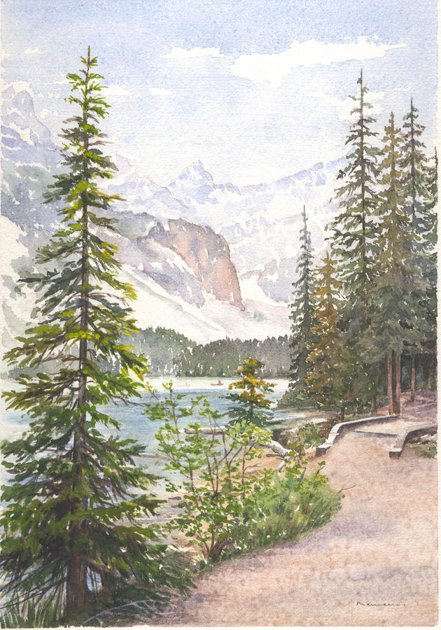 Landscape Painting - Moraine Lake by Maureen Carter