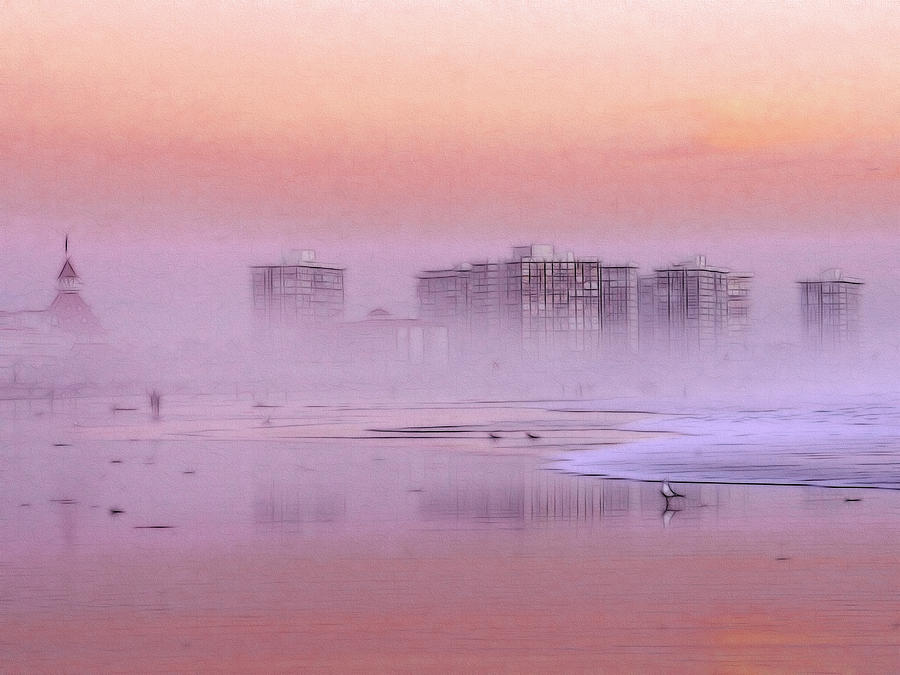 Sunrise Sun Seagull Bird Beach Ocean Waves Hotel Building Coast Sand Water Fog Mist Misty Spume Haze Sky Color Colorful Painting Expressionism Impressionism Art Seascape Landscape Skyline  Painting - Morning At The Beach by Steve K
