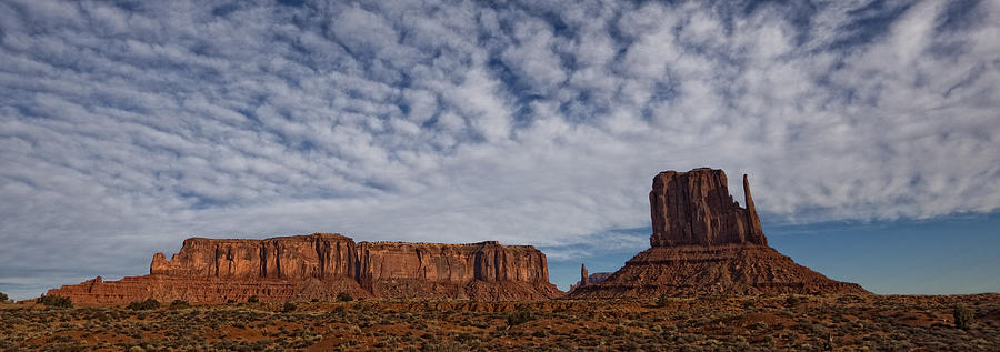 Light Photograph - Morning Clouds Over Monument Valley by Robert Postma