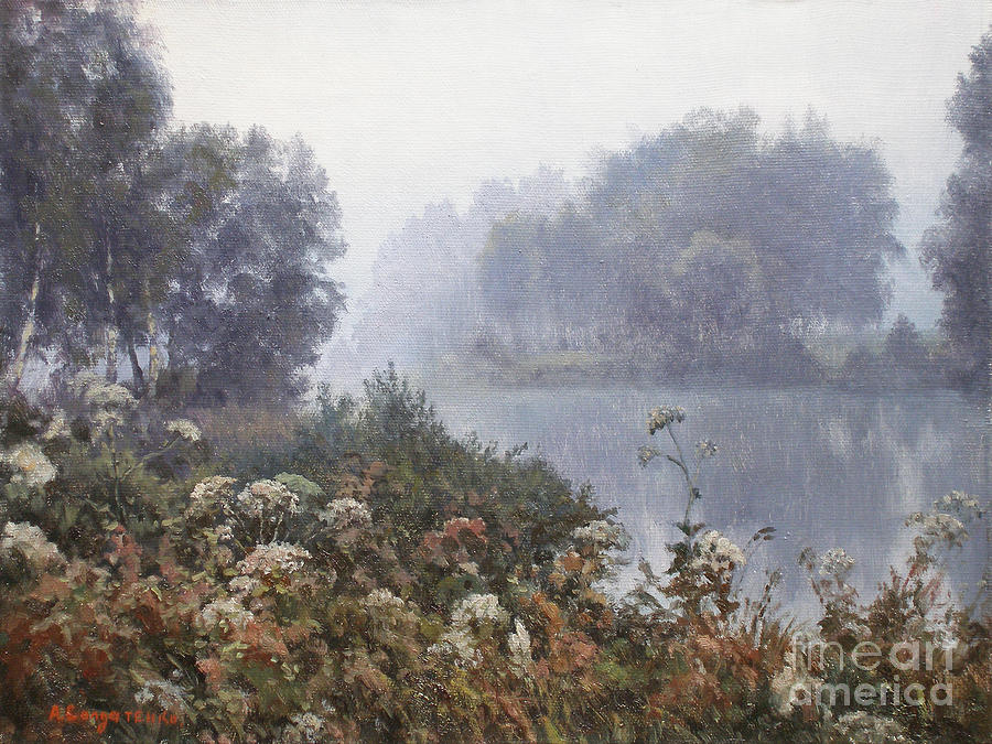 Landscape Painting - Morning Fog by Andrey Soldatenko