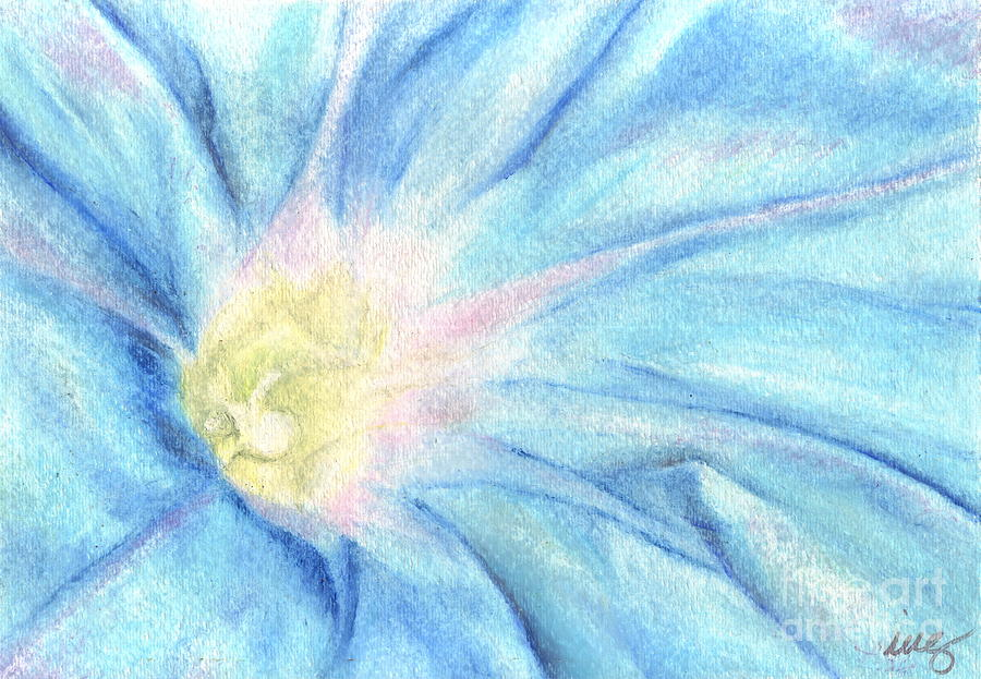 Blue Drawing - Morning Glorious by Iris M Gross