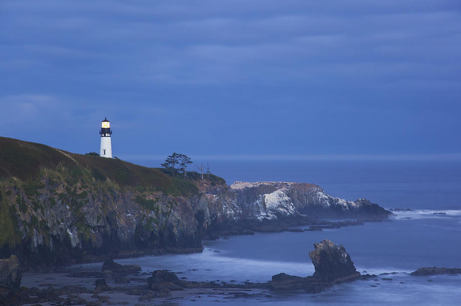 Cape Foulweather Lighthouse Photograph - Morning Light Over Yaquina Head by Craig Tuttle