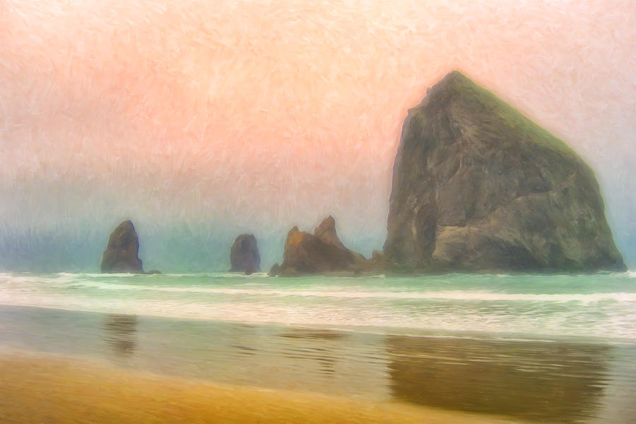 Morning Painting - Morning Mist At Haystack Rock by Dominic Piperata