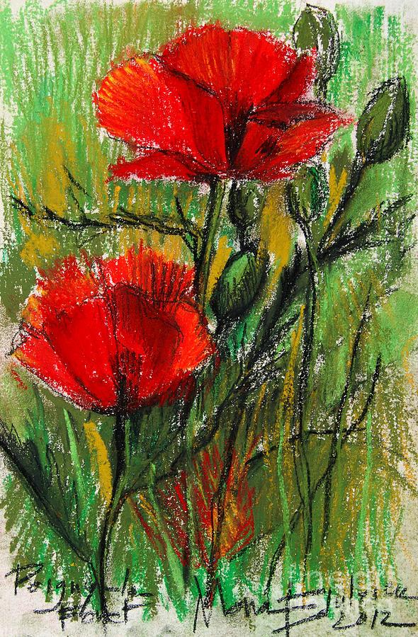 Mona Edulescu Pastel - Morning Poppies by Mona Edulesco