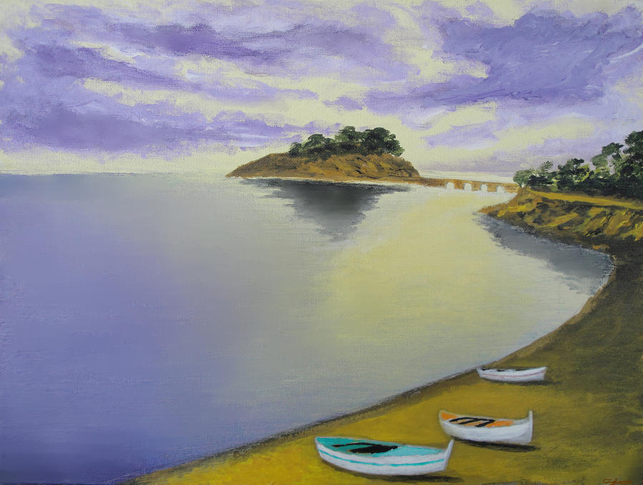 Boats Painting - Morning Sea by Larry Cirigliano