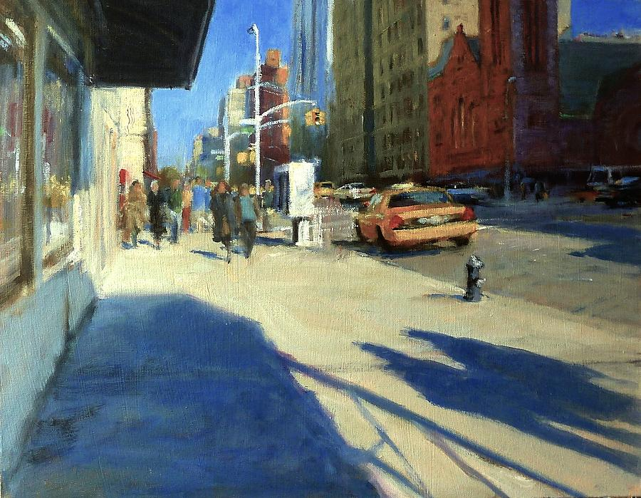 Landscape Painting - Morning Shadows On Amsterdam Avenue  by Peter Salwen