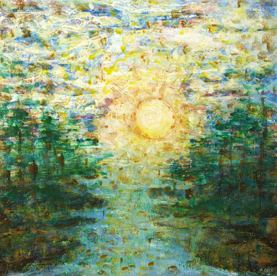 Abstract Landscape Painting - Morning Sun by Andria Alex