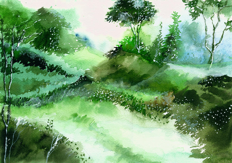 Nature Painting - Morning Walk 1 by Anil Nene