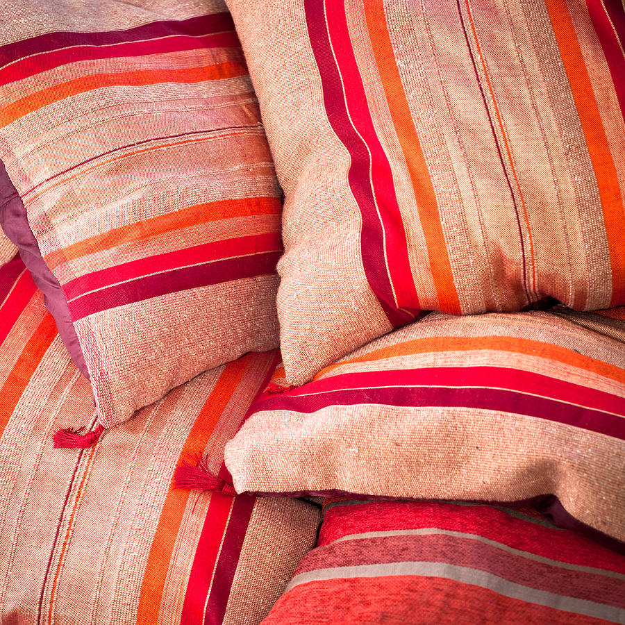 Bright Photograph - Moroccan Cushions by Tom Gowanlock