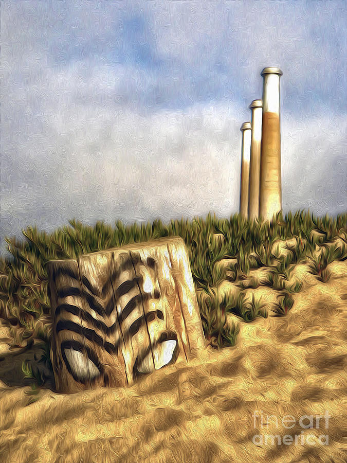 Morro Bay Painting - Morro Bay Tiki Head - 02 by Gregory Dyer