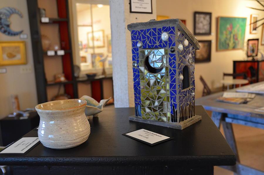 Mosaic Birdhouse Ceramic Art by Jane Lang