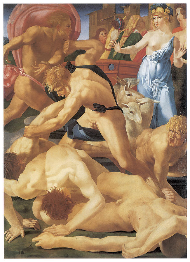 Rosso Fiorentino Painting - Moses And The Daughters Of Jethro by Rosso Fiorentino