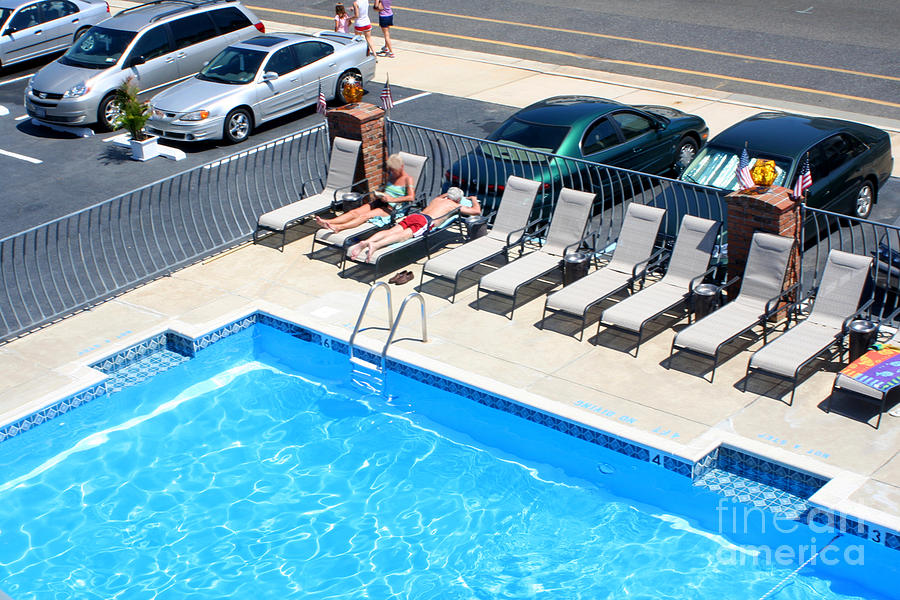 Motel Photograph - Motel Pool And Surroundings by Susan Stevenson
